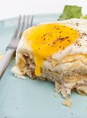 Serving of Croque Madame (Ham, Cheese, Bechamel Sauce and Egg Traditional French Toasted Sandwich)