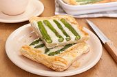 Asparagus, mascarpone and  Gorgonzola blue cheese puff pastry