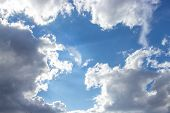 Beautiful Blue Sky With White Clouds Of An Unusual Shape. Clear Summer Sky With Puffy Cumulus Clouds poster