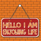 Text Sign Showing Hello I Am Enjoying Life. Conceptual Photo Happy Relaxed Lifestyle Enjoy Simple Th poster