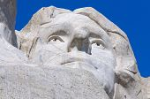 Thomas Jefferson face on Mount Rushmore National Memorial