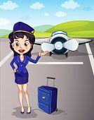 Flugzeuge und Mädchen mit Gepäck