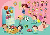 Illustration of childen in a bedroom