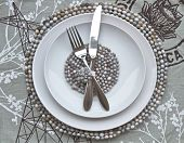 Table Place Setting With African Beaded Place Mats