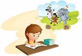 Illustration of girl doing homework and dreaming
