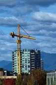 Construction Of High-rise Buildings In Richmond City, Industrial Construction Site, Construction Equ poster