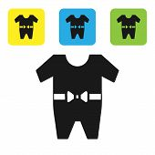 Black Baby Clothes Icon Isolated On White Background. Baby Clothing For Baby Girl And Boy. Baby Body poster