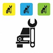 Black Car Service Icon Isolated On White Background. Auto Mechanic Service. Repair Service Auto Mech poster