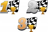 Chequered Flag con trofeo de carreras