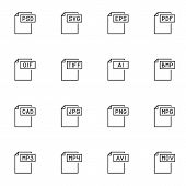 Document File Types Line Icons Set. File Format Linear Style Symbols Collection, Outline Signs Pack. poster
