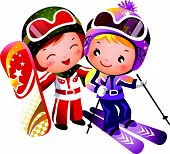 stock photo of ski boots  - There are one boy and one girl skiing - JPG