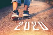 2020  Symbolises Number The Athletic Starting To Change New Year, Start Of People Running On A Stree poster