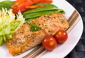 Salmon On Plate With Stripe