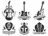 Guitar Shop Badges. Custom Guitars Shop Emblem, Guitar Headstock And Music Instruments Store Badge V poster