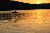 sunset canoeing