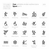 Sport And Activity Outline Vector Icons. Kickboxing, Cycling, Wheelchair Walk, Run, Racquetball, Squ poster