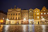 The Market Square With Historic Tenement Houses Andl And Christmas Decorations In City Of Poznan poster