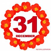 December 31 Icon. For Planning Important Day. Banner For Holidays And Special Days With Flowers. Thi poster