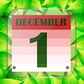 December 1 Icon. Calendar Date For Planning Important Day With Green Leaves. December First. Banner  poster