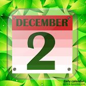 December 2 Icon. Calendar Date For Planning Important Day With Green Leaves. Banner For Holidays And poster