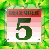 December 5 Icon. Calendar Date For Planning Important Day With Green Leaves. Banner For Holidays And poster