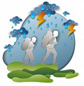 Active Father And Son Hiking In Storm With Lightning And Rain, Motivation, Survival Test. Vector Ill poster