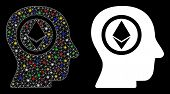 Glowing Mesh Ethereum Mind Head Icon With Glare Effect. Abstract Illuminated Model Of Ethereum Mind  poster