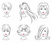 Illustration of the six options for women's hairstyles.
