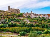Ancient Stone Hilltop Village In Catalonia (spain). Traditional Catalan Autumn Rural Landscape With  poster