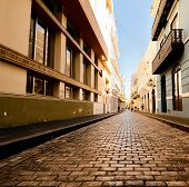 stock photo of san juan puerto rico  - Alley in the old city of San Juan - JPG