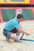 MOSCOW, RUSSIA - JUNE 8: Referee check the court after a technical timeout during Beach Volleyball S
