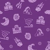 Weather, Natural Disasters, Seamless Pattern, Hatching, Vector, Color, Purple. Images Of Various Nat poster