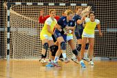 SIOFOK, HUNGARY - AUGUST 24: Unidentified players in action at a Siofok Cup handball game Feherep ye