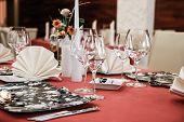 Modern restaurant dinner table