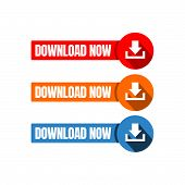 Download Now Button Icon Stylist Text Rounded Rectangular Shape With Download Sign Vector Symbol poster