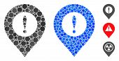 Caution Marker Mosaic Of Small Circles In Variable Sizes And Color Tinges, Based On Caution Marker I poster
