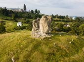 Famous Ukranian Sightseeing - Aerial View To Devils Rock In Pidkamin, Brody District, Lviv Region poster