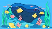 Paper Cut Underwater. Aquarium With Fish And Seaweeds, Ocean Bottom Landscape With Coral Reef And Al poster