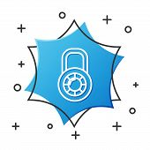 White Line Safe Combination Lock Wheel Icon Isolated On White Background. Combination Padlock. Secur poster