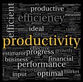 Productivity concept in word tag cloud on black background