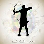 Silhouette of a archer aiming target on grungy archer sport background. EPS 10.