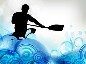 Stylized vector illustration silhouette of a canoe slalom player on a water wave effect background.