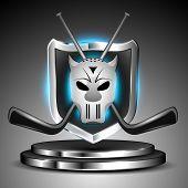 Metallic glossy winning shield of ice hockey with mask and hockey sticks on glossy stage. EPS 10.