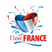 The National Flag Of The France And The Inscription I Love France. Vector Illustration poster