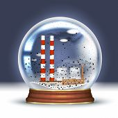 Ecological Disaster, Snow Globe With A Smoking Plant, Industrial Pipes Inside And Black Snow. Bad Ec poster