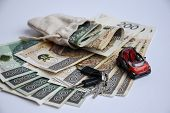 Polish Zloty Currency, Poland Money, Toy Car And Keys, One Hundred Zloty poster