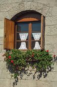 Glazed Window With Flowers And Wood Shutters In A Country House With Stone Wall Near Bento Goncalves poster