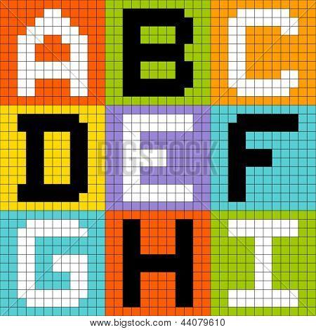 8-bit Pixel Letters Set 1: ABC DEF GHI poster