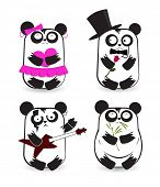 Vector set of pandas in different outfits