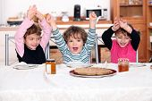 Kids excited by pancakes